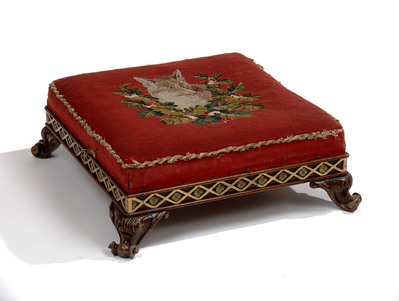 Embroidered Footstool, John Taylor & Sons, ca. 1850